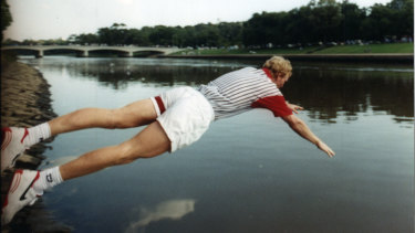 Jim Courier jumping in the Yarra after winning the Australian Open in 1993.