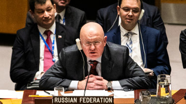Vasily Nebenzya, Russia's permanent representative to the United Nations, demanded to know if the United States intended to use force.