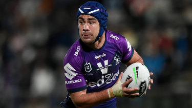 Milestone: Jahrome Hughes plays his 50th game for Storm on Saturday.