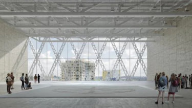 An artist's impression of the interior of the Moreau Kusunoki and Genton's latticed structural steel building for the new Powerhouse Museum in Parramatta.