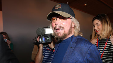 Barry Gibb at Redcliffe in September 2015. The mayor's then-adviser, Corinne Mulholland, is pictured in the background.