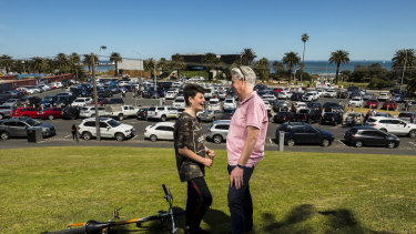 Local resident Darren Robinson and his son Harrison hope the St Kilda Triangle will become a park.