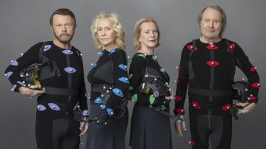 Not the album cover you expected ... ABBA band members Björn Ulvaeus, Agnetha Fältskog, Anni-Frid Lyngstad (Frida) and Benny Andersson in motion capture suits during the making of ABBA Voyage.