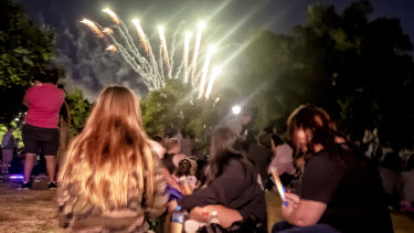 The 9.30pm fireworks at Yarra Park.