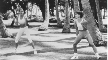 Elle Macpherson shooting for The Body Workout tapes in 1995.