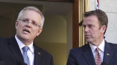 Prime Minister Scott Morrison and Education Minister Dan Tehan in Canberra last year.