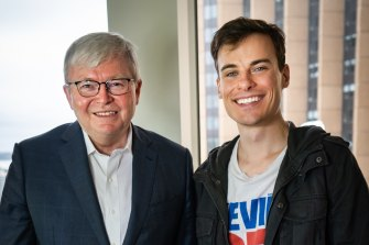 Jordan Shanks photographed with Kevin Rudd.