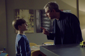 Paul (Martin Freeman, with George Wakeman) isn't exactly a model parent in the irreverent Breeders.