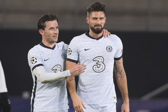 Giroud (right) scored the stoppage-time winner five minutes after Rennes appeared to have snatched a point at home.
