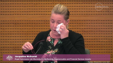 Jacqueline McDowall told the banking royal commission that Westpac's bad advice had led to her family losing their home.