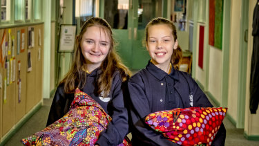 Boronia West Primary School student Hannah O'Brien (R) and Anallah Harrison