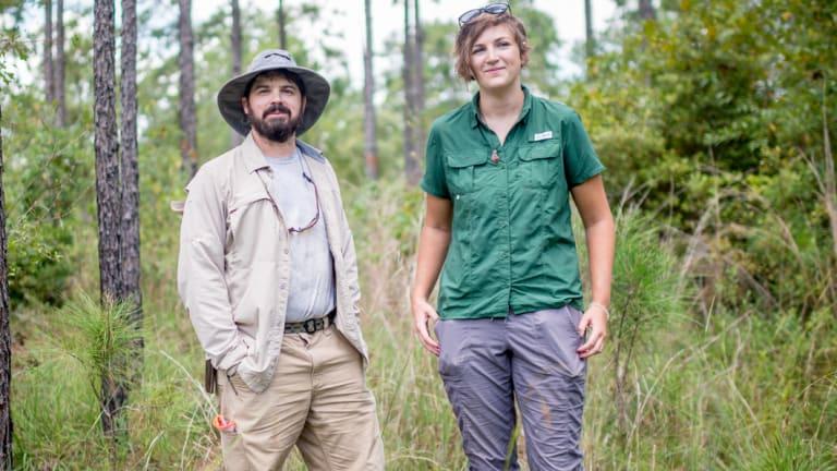 Ranger Chuck Burdine and researcher Jaime Smith.
