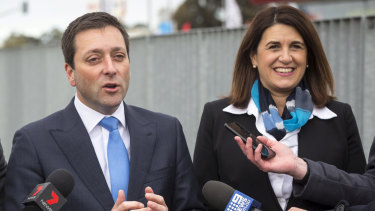 Opposition Leader Matthew Guy with Liberal candidate Ann-Marie Hermans.