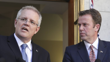 Prime Minister Scott Morrison and Education Minister Dan Tehan in Canberra last year.