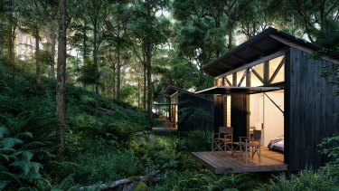 An artist impression of the eco-cabins on the five-day Scenic Rim trail experience.
