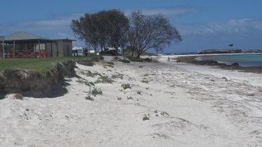 Photo of erosion threatening infrastructure at Grace Darling Park on December 3, before sand was replenished on Tuesday.