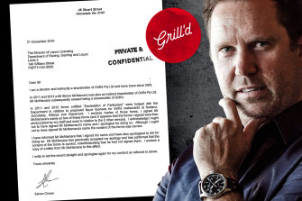 Grill'd co-founder Simon Crowe forged signature on liquor licensing documents.