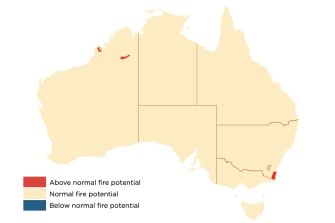 The South Coast will experience above normal fire danger over the coming three months.