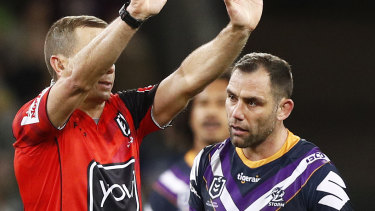 Marching orders: Cameron Smith is sent to the sin bin.
