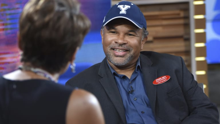 Geoffrey Owens, wearing his 'Geoffrey' name tag, appeared on Good Morning America to defend working at a grocery store.
