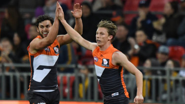 Chase that feeling: Lachie Whitfield wants to celebrate plenty of goals.