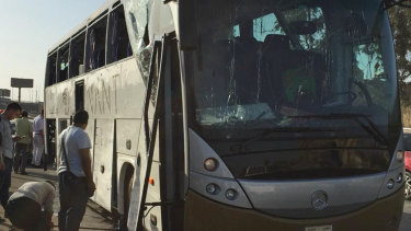 A bombed out bus in Cairo in March.