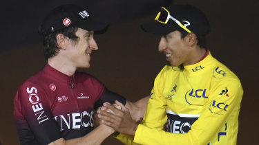 Top of the world: Bernal with Britain's Geraint Thomas, who placed second, on the podium of the 2019 Tour de France.