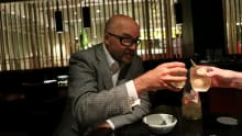 Conservative pollster Mark Textor drinking cocktails at Spice Temple in April 2015.