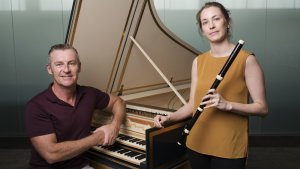 Paul Dyer, director of Australian Brandenburg Orchestra and Mikeala Oberg, a baroque flute and recorder player who will feature in Ayres & Graces