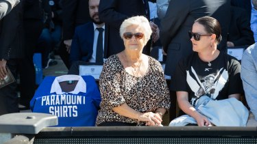Tommy Raudonikis' partner Trish Brown at Monday's memorial.