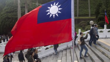Cross-strait propaganda has a long history: Taiwan's flag stands at the National Palace Museum in Taipei.