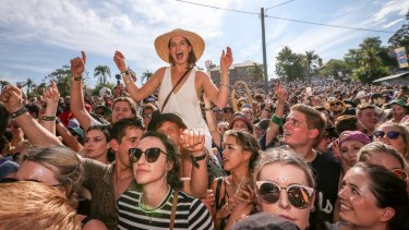 Crowds watch Gang of Youths at St Jerome's Laneway Festival in Sydney.