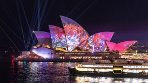NEWS: VIVID. The sails of the Opera House are lit up with an animated Austral Flora Ballet by Andrew Thomas Huang. 24th May 2019, Photo: Wolter Peeters. The Sydney Morning Herald.
