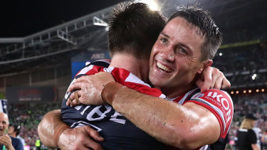 Winning feeling: Cooper Cronk after winning the 2019 NRL premiership with the Roosters.