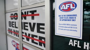 A general view is seen before an AFL press conference takes place at AFL House at Docklands in Melbourne, Wednesday, March 18, 2020. (AAP Image/Michael Dodge) NO ARCHIVING