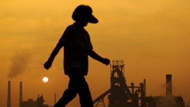 Posco steel mill at sunrise in Pohang, South Korea.