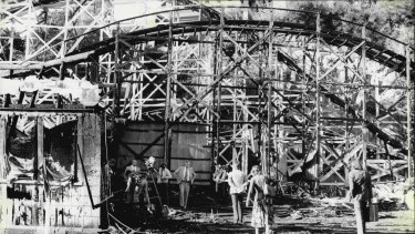 At the Luna Park, ghost train incident. What is left of the Luna Park ghost train which was burnt down last night. June 10, 1979. (Photo by Dallas Smith/Fairfax Media).