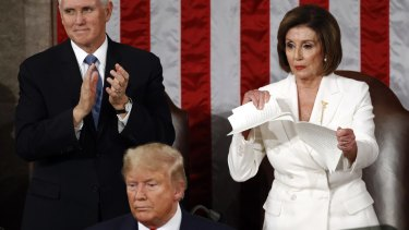 House Speaker Nancy Pelosi tears her copy of President Donald Trump's State of the Union address after he delivered it to a joint session of Congress on Capitol Hill in Washington on Tuesday.
