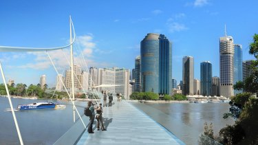 Artist impression of a proposed Kangaroo Point pedestrian bridge between Thornton St and Edward St.