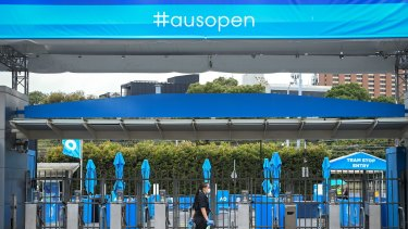 Australian Open 2021.Day 6. Generic pics of the tennis centre with no crowd because of the stage 4 lockdown in Victoria. 13 February 2021. The Age Sport. Photo: Eddie Jim.