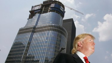 Donald Trump is profiled against his 92-story Trump International Hotel & Tower in 2007.
