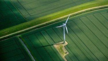 A wind turbine on farm land near Hamburg, Germany.
