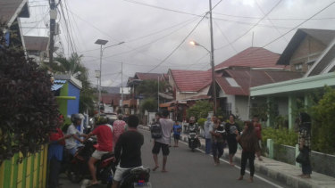 Indonesia has been rattled by earthquakes recently. Residents leave their homes following an earthquake in Ternate, North Maluku, Indonesia on Sunday.