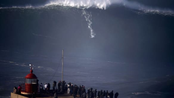 Town once feared 10-storey waves - but then extreme surfers showed up