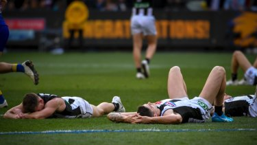 After the siren: Collingwood came within a kick of the premiership in 2018.