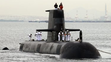 Rankin, a Royal Australian Navy Collins-class submarine, makes a port call at Kobe port in Higashinada Ward, Hyobo Prefecture on May 6, 2016. Japan won a defense contract to construct 12 next generation submarines for the Royal Australian Navy. ( The Yomiuri Shimbun via AP Images ) Collins Class submarine