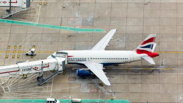 A passenger aircraft, operated by British Airways.