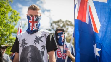 MELBOURNE, AUSTRALIA - NOVEMBER 22: A Member of  Reclaim Australia  during simultaneous rallies between Reclaim Australia and No Room for Racism, the ideologically opposed groups in Melton on November 22, 2015 in Melbourne, Australia.  (Photo by Chris Hopkins/Fairfax Media)