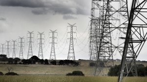 Power lines transmit electricity from the Mortlake gas power station.