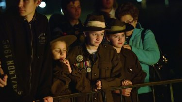 Children were among those who attended the dawn service.